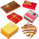 Various gifts on white Royalty Free Stock Photo
