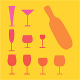 Various glass and bottle set. Royalty Free Stock Photos