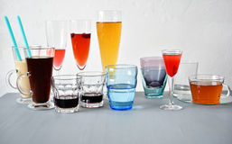 Various glasses with drinks Royalty Free Stock Photos