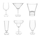 Various glasses on white Royalty Free Stock Photos