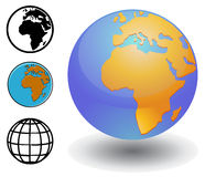 Various Globe showing Africa image. Vector drawing of a different versions of globe showing the African continent and Europe vector illustration