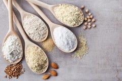 Various gluten free flour. Wooden spoons of various gluten free flour (almond flour, amaranth seeds flour, buckwheat flour, rice flour, chick peas flour) from Royalty Free Stock Photo