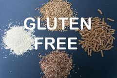 Various gluten-free products: buckwheat, quinoa, einkorn polba, spelt pasta and soba buckwheat flour noodles. stock photo