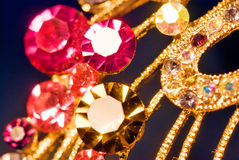 Various gold jewellery closeup Royalty Free Stock Image