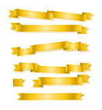 Various golden banner ribbons set Royalty Free Stock Photos