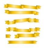Various golden banner ribbons set Royalty Free Stock Photos