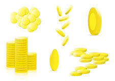 Various golden coins money illustration Stock Images