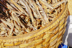 Various goods in Burmese market, Myanmar. Dried fishes in close-woven baskets in Burmese market, Myanmar. Myanmar is one of the mysterious country in South East stock photos