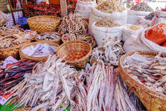 Various goods in Burmese market, Myanmar. Dried fishes stall in Burmese market, Myanmar . Myanmar is one of the mysterious country in South East Asia and because royalty free stock photography