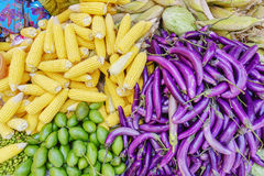 Various goods in Burmese market , Myanmar. Eggplants, yellow corns, mangos in Burmese market, Myanmar. In Myanmar, eggshells are used for plants to protect stock images