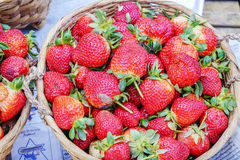 Various goods in Burmese market , Myanmar. Fresh strawberry basket in Burmese market, Myanmar. In Myanmar, eggshells are used for plants to protect plants from Royalty Free Stock Photos