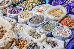 Various goods in Burmese market , Myanmar. Pea stall in Burmese market, Myanmar. In Myanmar, eggshells are used for plants to protect plants from some insects stock images