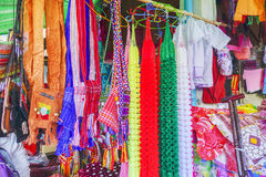 Various goods in Burmese market, Myanmar. Souvenir stall with colorful bags and some accesories in Burmese market, Myanmar . Myanmar is one of the mysterious royalty free stock photography