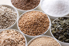 Various grain. Composition of various grain in white bowl stock images