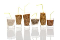 Various Grains And Seeds For Making Vegan Milk Royalty Free Stock Images