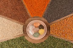 Various grains and their flour in a colorful arrangement royalty free stock photography