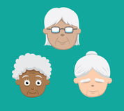 Various Grandma Faces Vector Illustration Stock Photo