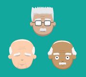 Various Grandpa Faces Vector Illustration Royalty Free Stock Photography