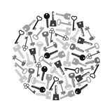 Various grayscale keys symbols for open a lock eps10 Royalty Free Stock Photos