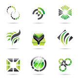 Various green abstract icons, Set 9. Various green abstract icons isolated on a white background Stock Photos