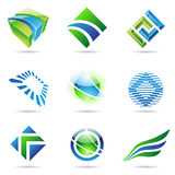 Various green and blue abstract icons, set 1. Various green and blue abstract icons isolated on a white background Stock Images