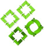 Various green recycling signs with or without shadow Royalty Free Stock Photo
