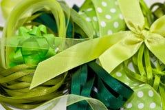 Various green ribbons Stock Images