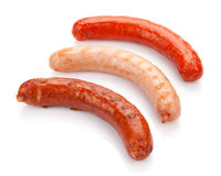 Various grilled sausages. Isolated on white background stock photo