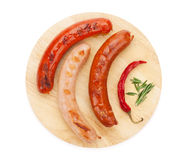 Various grilled sausages Royalty Free Stock Photos