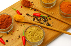 Various ground and whole spice on board Stock Photo