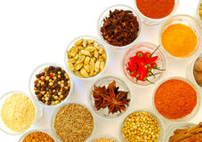 Various ground and whole spice in rows Stock Photo