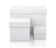 Various group of white gift boxes from front view. Stock Photo