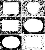 Various Grungy Borders. Six hand-drawn ink rectangular, oval and heart-shaped frames Royalty Free Stock Photos