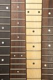 Various guitar necks aligned, Royalty Free Stock Photos