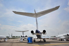 Various Gulfstream business jets on display at Singapore Airshow Royalty Free Stock Photo
