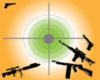 Various guns. Abstract colored background with target and various gun shapes Royalty Free Stock Photography