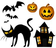 Various Halloween Clip Art. A clip art illustration of a variety of halloween clip art graphics isolated on white background. Included is - black cat, haunted Stock Images