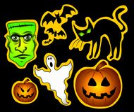 Various Halloween Clip Art. A clip art illustration of a variety of halloween characters for use as stickers or clip art, with yellow outlines on black Stock Photography