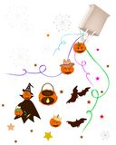 Various Halloween Item and Evil Falling From Paper Bag. Halloween Evil and Halloween Item Falling From A Paper Bag Isolated on White Background, Sign for Stock Photo