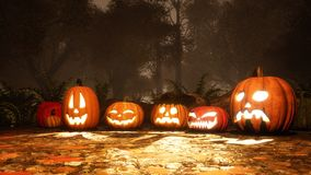 Various halloween pumpkins in fall forest at dusk royalty free stock photography