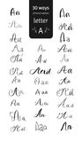 Various hand drawn brush ink vector `A` upper and lower case letters set. Doodle comic font for your design. Various hand drawn brush ink vector `A` upper and Stock Image