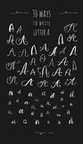 Various hand drawn brush ink vector `A` upper and lower case letters set. Doodle comic font for your design. Various hand drawn brush ink vector `A` upper and Royalty Free Stock Photos