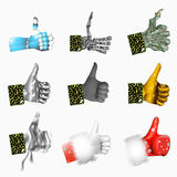 Various hand Likes. Some hand Likes and Santa Like Stock Image