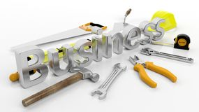 Various hand tools with 3D word Business Stock Images