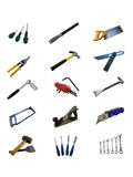 Various hand tools isolated on a white background. Various traditional hand tools isolated on a white background Stock Image