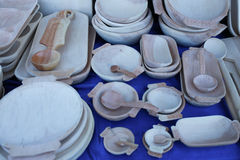 Various handicrafts fair: carved wooden objects Stock Photography
