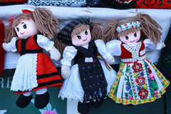 Various handicrafts fair: colored dolls Stock Photos