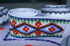 Various handicrafts fair: popular colored belt, brau Royalty Free Stock Photography