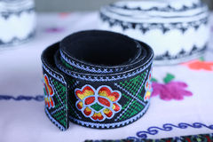Various handicrafts fair: popular colored belt, brau Stock Photo
