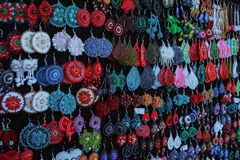 Various handicrafts fair: Romanian traditional earrings Stock Photo